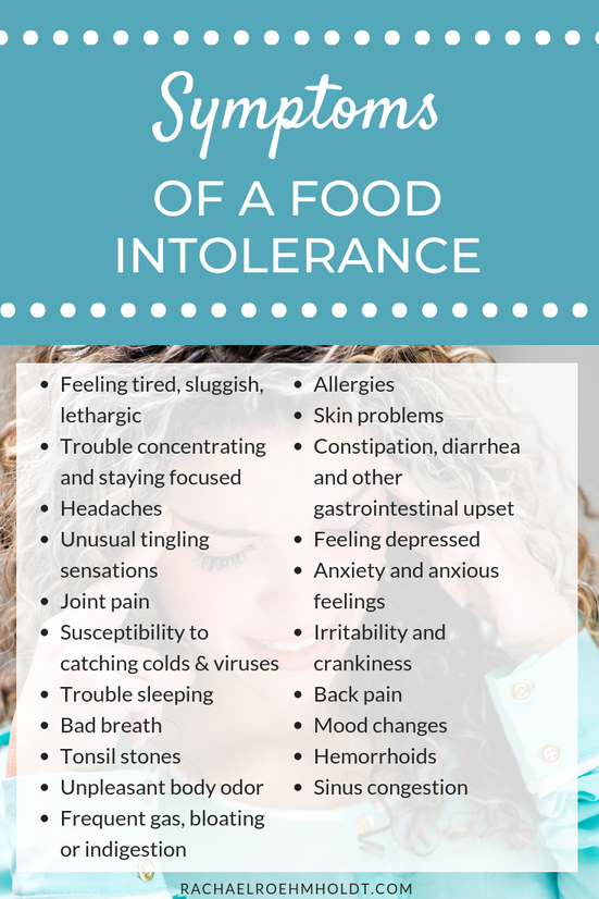 Symptoms of a food intolerance