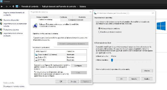 Attivare punto di ripristino Windows 10