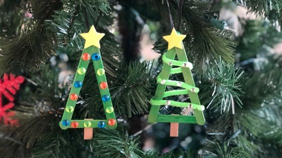 popsicle stick christmas tree ornament featured