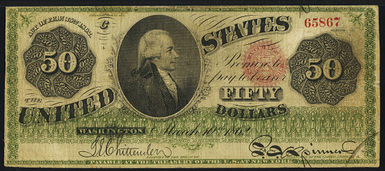 1862 Fifty Dollar Legal Tender Or United States Note