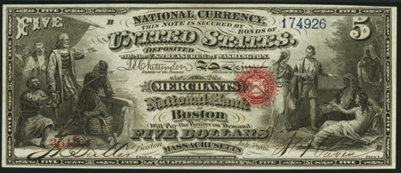 1863 Five Dollar Original Series National Bank Note