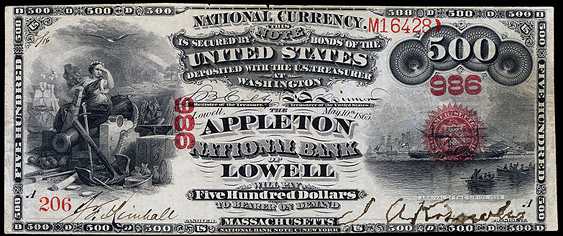 1863 Five Hundred Dollar Original Series National Bank Note