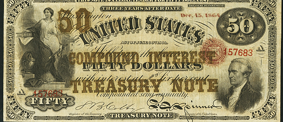 1864 Fifty Dollar Compound Interest Treasury Note