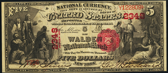 1875 Five Dollar National Bank Note