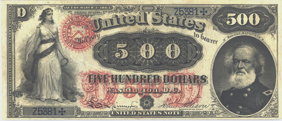 1875 Five Hundred Dollar Legal Tender Or United States Note