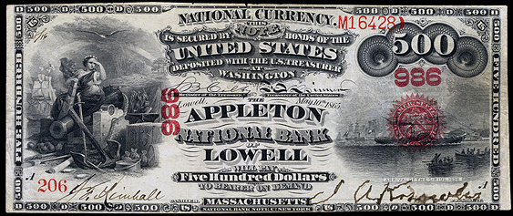 1875 Five Hundred Dollar National Bank Note