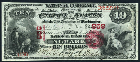 1875 Ten Dollar National Bank Note