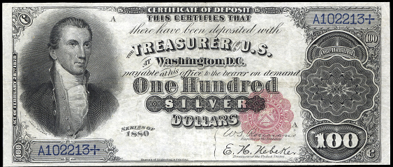 1880 One Hundred Dollar Silver Certificate