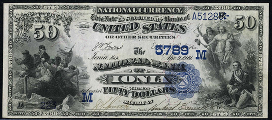 1882 \$50 Date Back - Front