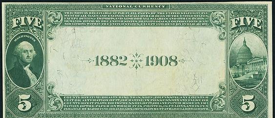 1882 \$5 Date Back - Back