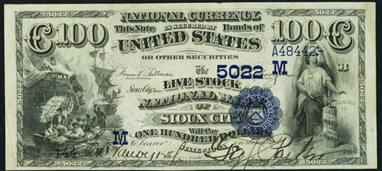 1882 \$100 Date Back - Front