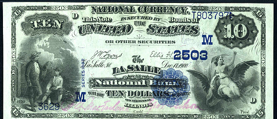 1882 $10 Value Back - Front