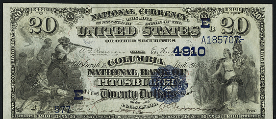 1882 \$20 Date Back - Front