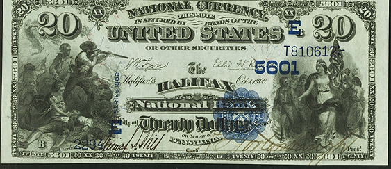 1882 \$20 Value Back - Front