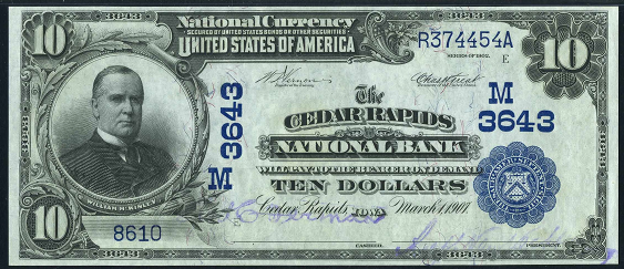1902 \$10 Date Back - Front