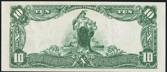 1902 \$10 Plain Back - Back