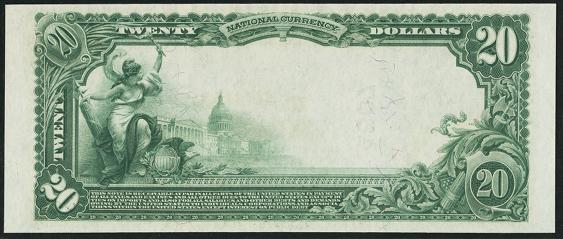 1902 \$20 Plain Back - Back