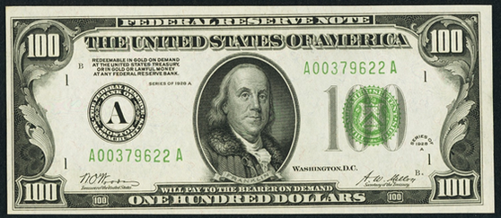 1928a One Hundred Dollar Federal Reserve Note