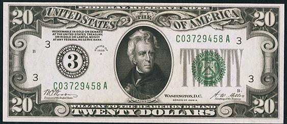 1928a Twenty Dollar Federal Reserve Note