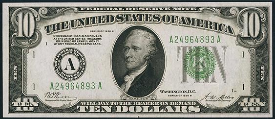 1928b Ten Dollar Federal Reserve Note