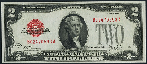 1928b Two Dollar Legal Tender Or United States Note