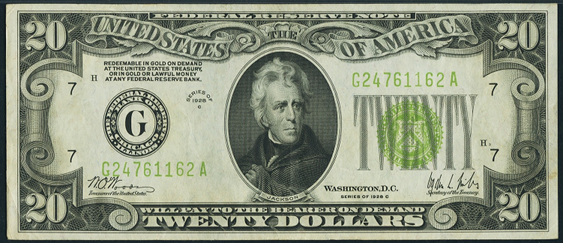 1928c Twenty Dollar Federal Reserve Note