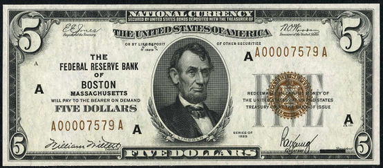 1929 Five Dollar Federal Reserve Bank Note