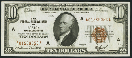 1929 Ten Dollar Federal Reserve Bank Note