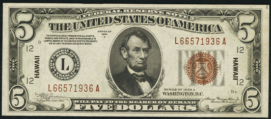 1934a Five Dollar Federal Reserve Notes Hawaii Brown Note