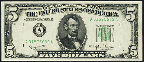 1950 Five Dollar Federal Reserve Note
