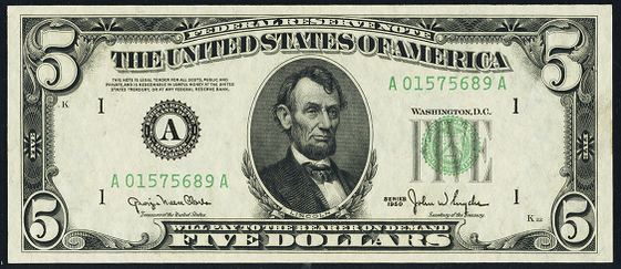 1950b Five Dollar Federal Reserve Note