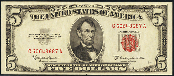 1953c Five Dollar Legal Tender Or United States Note