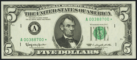 1969b Five Dollar Federal Reserve Note