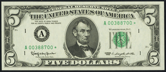 1974 Five Dollar Federal Reserve Note
