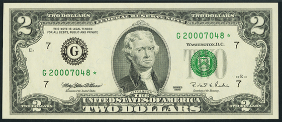 1995 Two Dollar Federal Reserve Notes FW