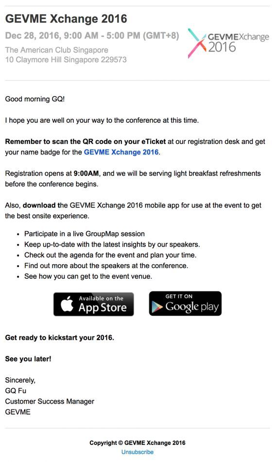 invite your participants to download event's app in a reminder email sample