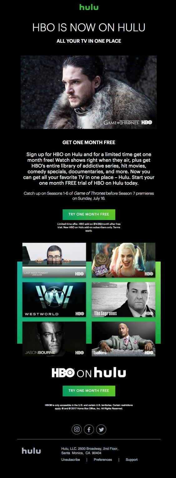 HBO is now on Hulu announcement email design sample