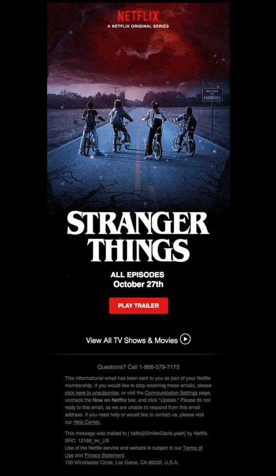 Stanger Things teaser email example Netflix