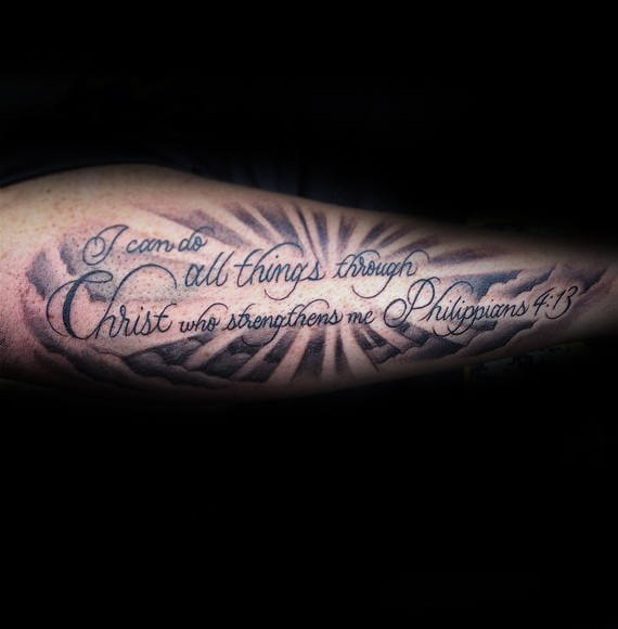 bible verse tattoo on outer forearm for men