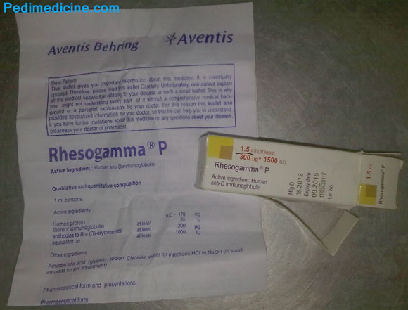 Anti-D Immunoglobulin Rhesogamma, registered product of Aventis