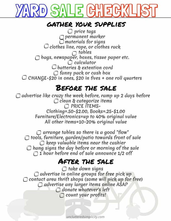 Yard Sale Printable Checklist