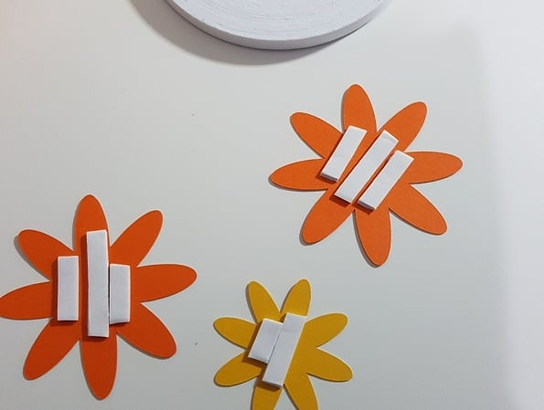 Flowers with the foam tape on the back ready to build the 3D effect.