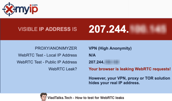 Image showing how to test for WebRTC leaks on XMyIP