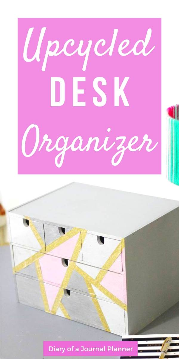 Easy DIY desk organizer upcycling using an IKEA home office supply box.