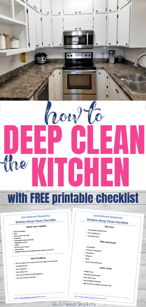 How to Deep Clean the Kitchen with free printable checklist