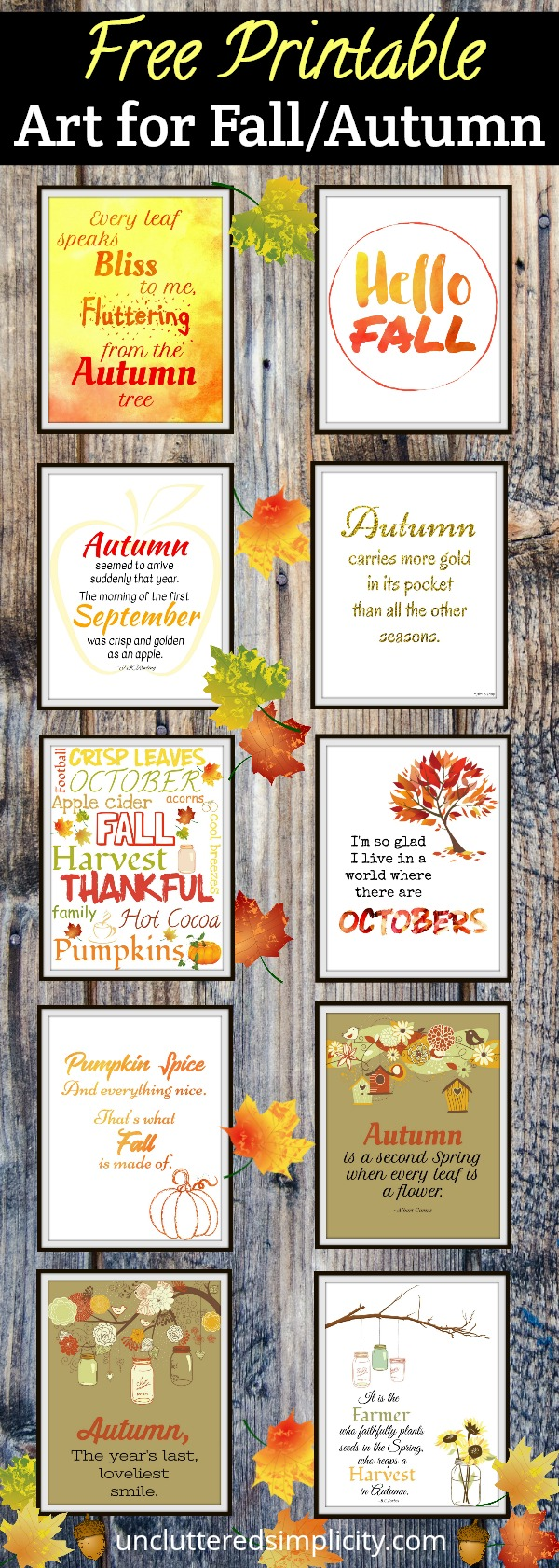 free fall printables | fall wall art | art for fall | autumn printables | free printables #fall #fallprintables