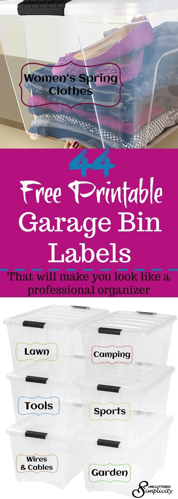 free printable garage bin labels | garage organization printables | free printables to organize your garage, attic, basement and more #organize #printables #labels