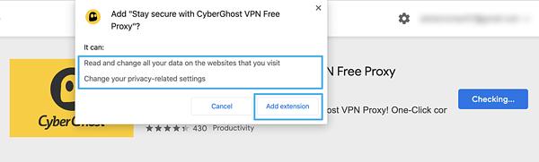 VPN for Chrome - VPN extension permissions for CyberGhost VPN