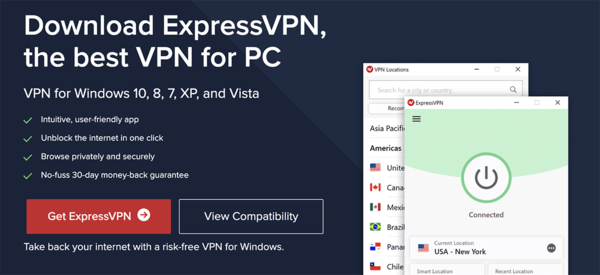 Image showing the ExpressVPN download page for the Windows VPN client.