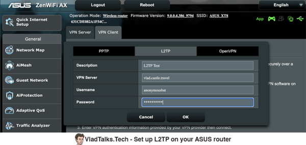 Se tup L2TP on your Asus router